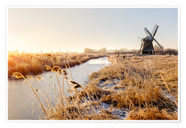 Premium poster Windmill near Sande at cold winter morning