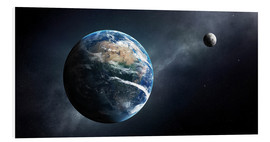 Foam board print  Earth and moon from outer space - Johan Swanepoel