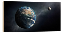 Wood print  Earth and moon from outer space - Johan Swanepoel