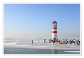 Premium poster  Lighthouse on frozen Lake Neusiedl - Gerhard Wild