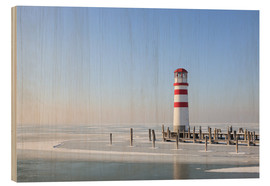 Wood print  Lighthouse on frozen Lake Neusiedl - Gerhard Wild