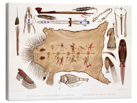 Canvas  buffalo robe and other articles of the mandans - Karl Bodmer