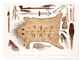 Poster  buffalo robe and other articles of the mandans - Karl Bodmer