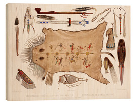 Wood print  buffalo robe and other articles of the mandans - Karl Bodmer