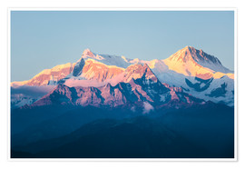 Premium poster Annapurna mountain range at sunset, Nepal