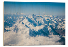 Wood print  Aerial view of mount Everest, Himalaya - Matteo Colombo