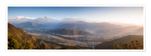 Premium poster Annapurna mountain range at sunrise, Nepal