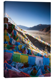 Canvas print  Valley at sunrise with prayer flags, Tibet - Matteo Colombo