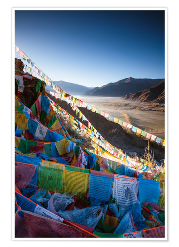 Premium poster Valley at sunrise with prayer flags, Tibet
