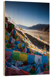 Wood print  Valley at sunrise with prayer flags, Tibet - Matteo Colombo