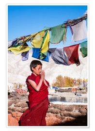 Premium poster  Young buddhist monk praying, Nepal, Asia - Matteo Colombo