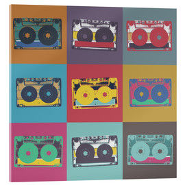 Acrylic print  colorful cassettes