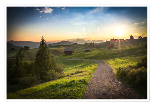 Premium poster Seiser Alm in the morning, South Tyrol