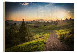 Wood print  Seiser Alm in the morning, South Tyrol - Frank Fischbach