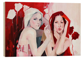 Wood print  White and red - Anna Hammer