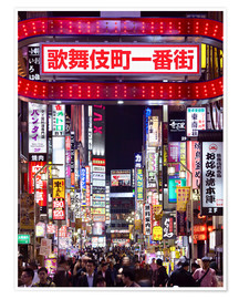 Poster  Colorful neon signs in Shinjuku district in Tokyo, Japan - Jan Christopher Becke