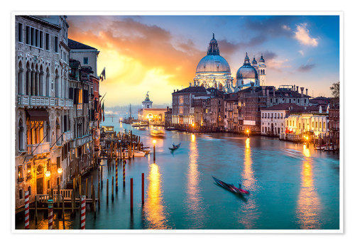 Premium poster Grand Canal at sunset in Venice, Italy