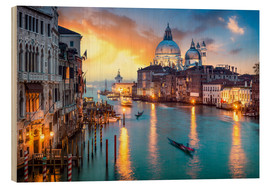 Wood print  Grand Canal at sunset in Venice, Italy - Jan Christopher Becke