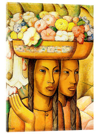 Acrylic glass  Flower Sellers - Alfredo Ramos Martinez