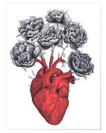 Premium poster Heart with peonies