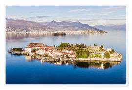 Premium poster Isola Bella on Lake Maggiore at sunset, Italy