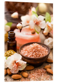 Acrylic print  Bath salt in wooden bowl