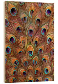 Wood  Peacock feathers bronze