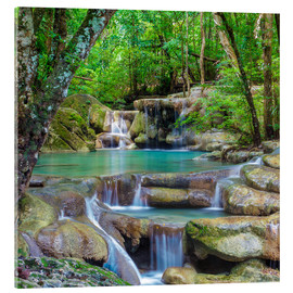 Acrylic print  small waterfall in forest