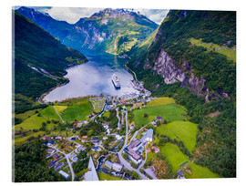 Acrylic print  Steamer in the fjord