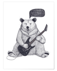 Premium poster  Rocking bear with electric guitar - Valeriya Korenkova