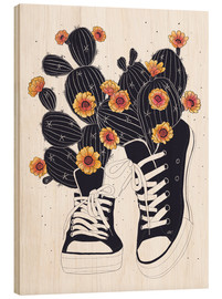 Wood  Sneakers with cactus - Valeriya Korenkova
