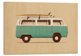 Wood print  Blue van - Florent Bodart