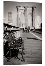 Acrylic print  Bench on Brooklyn Bridge - Denis Feiner