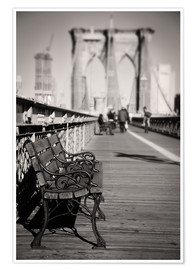 Premium poster  Bench on Brooklyn Bridge - Denis Feiner
