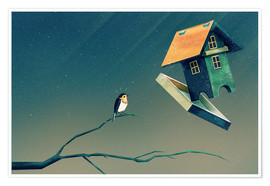 Premium poster  Flying Bird House - Romina Lutz