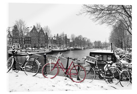 Acrylic glass  Red bicycle in the snow - George Pachantouris