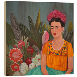 Wood print  Frida at the blue house - Sylvie Demers