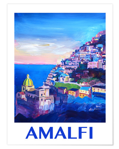 Premium poster Amazing Amalfi Coast At Sunset IV - Retro Poster Vintage Style