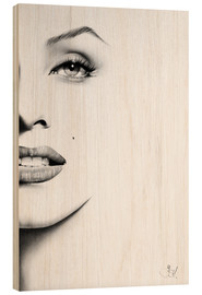 Wood  Marilyn Monroe minimal portrait - Ileana Hunter