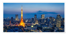 Premium poster Tokyo skyline with Tokyo Tower at night