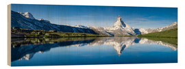 Wood print  Stellisee and Matterhorn near Zermatt in the Swiss Alps - Jan Christopher Becke