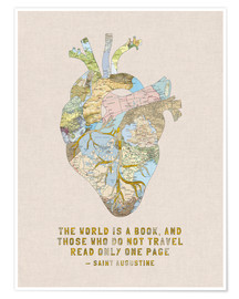 Premium poster  A Travelers Heart + Quote - Bianca Green