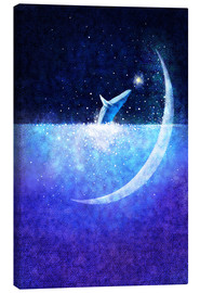 Canvas  Blue whale and crescent - Hajin Bae