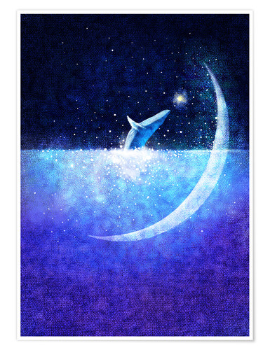 Premium poster Blue whale and crescent