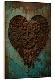 Wood print  Clockwork Heart - Sybille Sterk