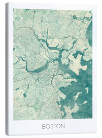 Canvas print  Boston Map Blue - Hubert Roguski