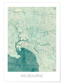 Premium poster  Melbourne Map Blue - Hubert Roguski