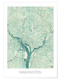Premium poster  Washington Map Blue - Hubert Roguski