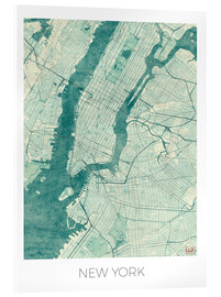 Acrylic print  Map of New York, Blue - Hubert Roguski