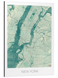 Alu-Dibond  Map of New York, Blue - Hubert Roguski